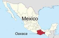 Le Oaxaca sur la carte du Mexique